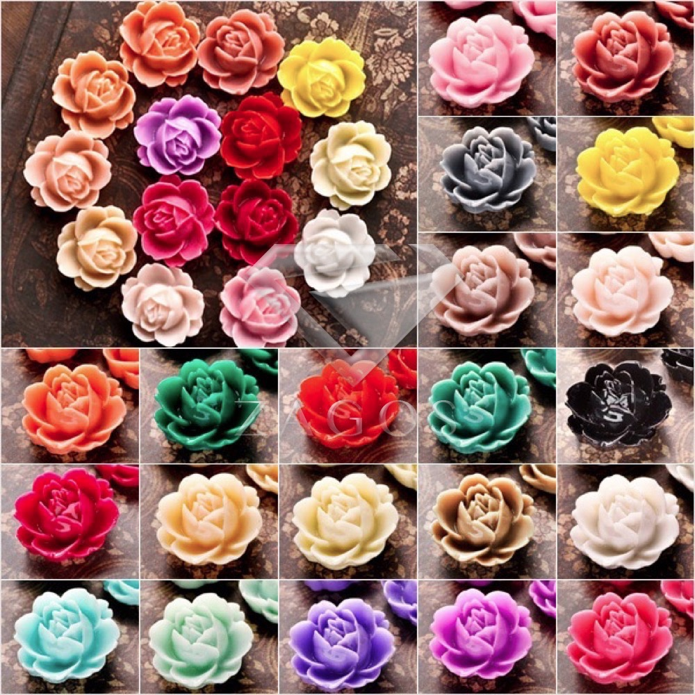 10Pcs Resin Vintage Style Rose Flower Flat Back Cameo Cabochon 21x19x8mm For Jewelry Making Accessories Wholesale RB0746