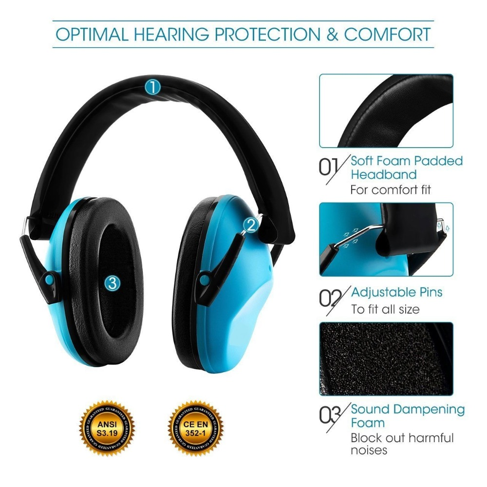 Kids Anti-noise Earmuffs Hearing Protectors Adjustable Headband Ear Defenders For Baby Soundproof Shooting Ear Muffs Safety
