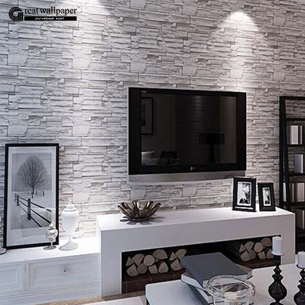 Hohe qualit t gro handel 3d stein tapete aus china 3d for Grey brick wallpaper living room
