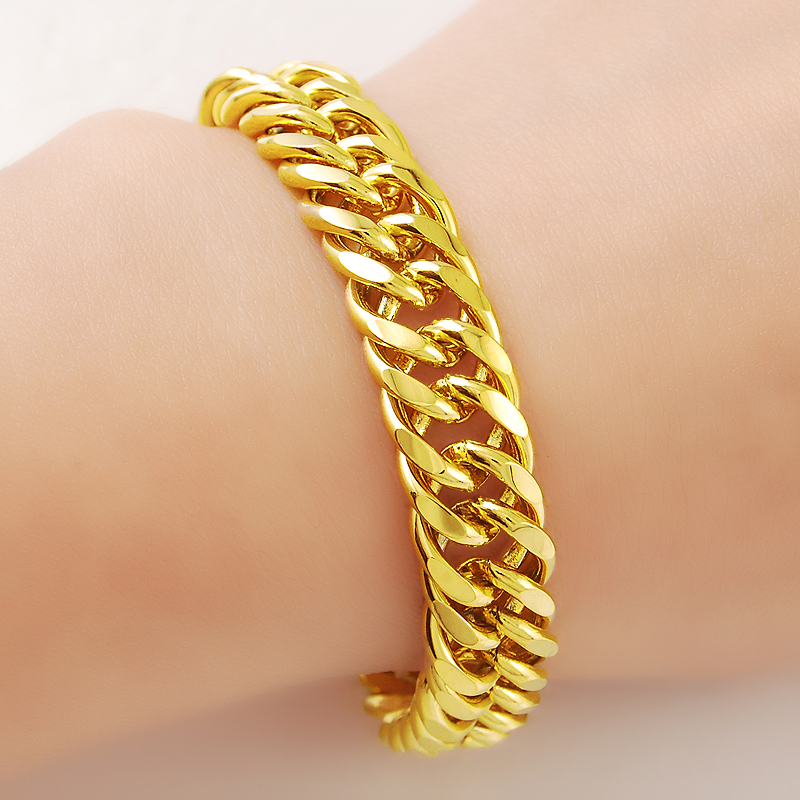 Women 39 s Men 39 s Bracelet 24K Gold Plating Cuban Link Chain Bracelets Yellow Gold Color Fashion Wholesale Jewelry for Men KBB10 in Charm Bracelets from Jewelry amp Accessories