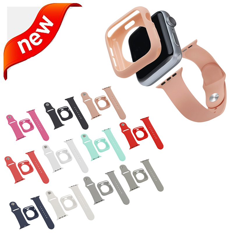 TPU Protectiver Case & Watch Strap 2 In 1 Suit For Apple Watch Band 4 44/40mm Bracelet Wristband For IWatch Series 3/2/1 42/38mm