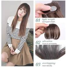 Fake Long Blunt Bangs hair Clip-In Extension Fake Fringe 100% Real Natural False hairpiece For Women Clip In Bangs(China)