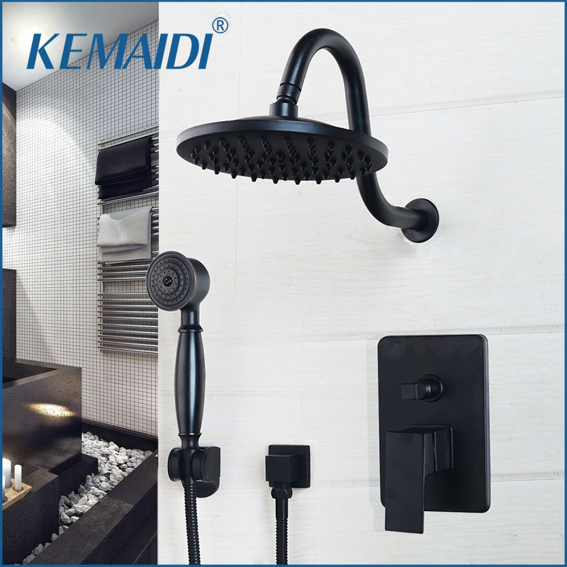 KEMAIDI 8 Inch Bathroom Rainfall Shower Faucet Black Round Head Wall Mounted Oil Rubbed Bronze head