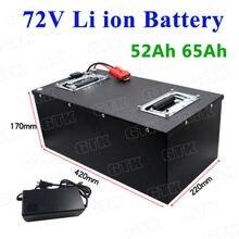 Caja de acero de 72V, 52Ah, 65Ah, paquete de batería de iones de litio con BMS para motocicleta eléctrica de 4200W, carretilla elevadora EV + cargador de 5A