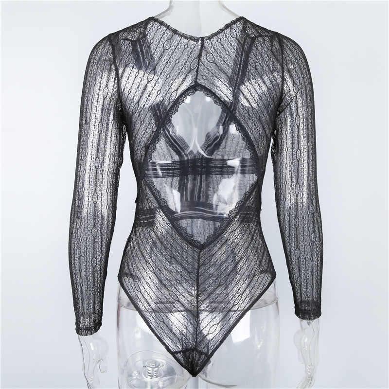 Articat кружевной облегающий костюм женский топ сексуальный глубокий v-образный вырез открытая спина сетчатые Комбинезоны Женский комбинезон боди Feminino комбинезон