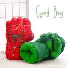 Four animation gloves plush toys  green giant and Spider-Man and Hulk and Iron Man boxing glove Children's toys birthday gift