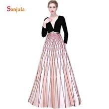 Illusion Scoop A-Line Long Evening Dresses Black Top Sleeve Satin Skirt Formal Gowns abiti cerimonia donna D567