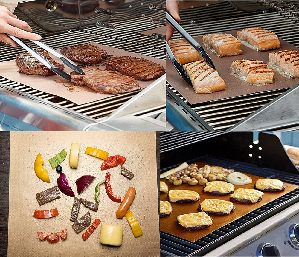 Behogar 5pcs/Set Copper Chef Grill Mat Non-stick Reusable Easy to Clean BBQ Grill & Baking Mat Barbecue Pads w/ a Silicone Brush
