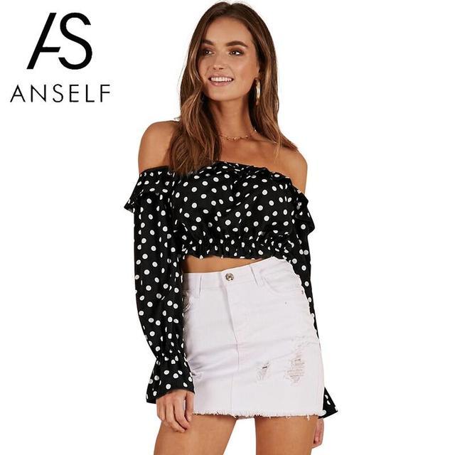 5ea4c37029a Anself Women Off the Shoulder Crop Top Polka Dots Print Long Sleeve Ruffles  Blusas Slash Neck Casual Chiffon Shirt Blouse Tops