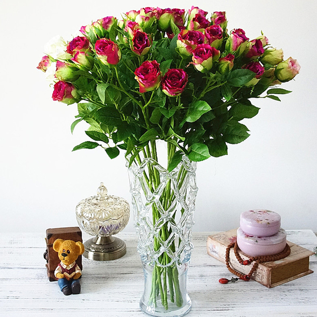 4 Rose Bud Artificial Flowers Real Touch Fake For Wedding Holding Flower Bouquet Home Vase