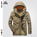 2016 Jacket Men Hooded Autumn Solid Casual Zipper Fashion High Quality  Wool Liner Warm Winter Jackets Loose Air Force polo Coat