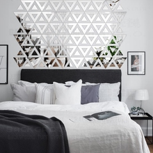 DIY Triangle Free Design 3D Decorative Acrylic Mirror Wall Stickers Living Room Bedroom Home Wall Decor Room Decoration Art R160