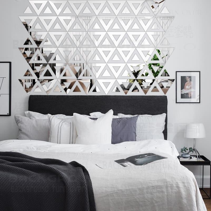 DIY Triangolo Disegno Libero 3D Decorativa Acrilica Specchio Wall ...