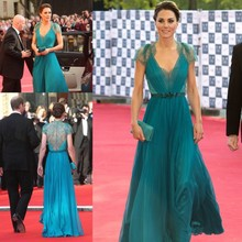 Best Selling Modest V-neck Kate Middleton Teal Cap Sleeves Lace Evening Dresses Formal 2013 Prom Custom Made