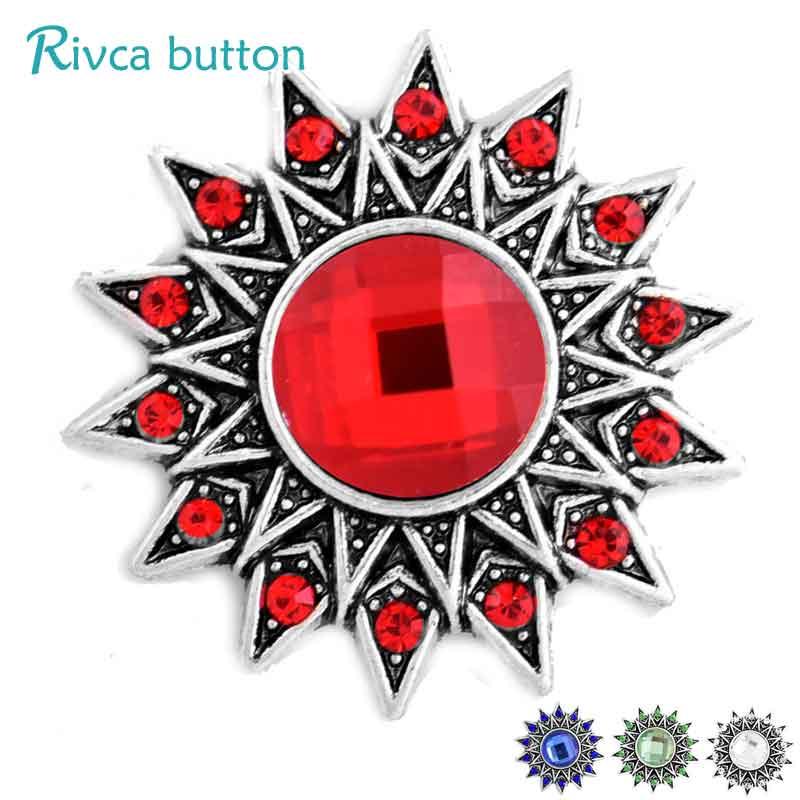 D03303 Rivca Snap Button Jewelry Crystal style 18mm Snap Button Bracelets Men Colorful Rhinestone Charm Bracelets For Women