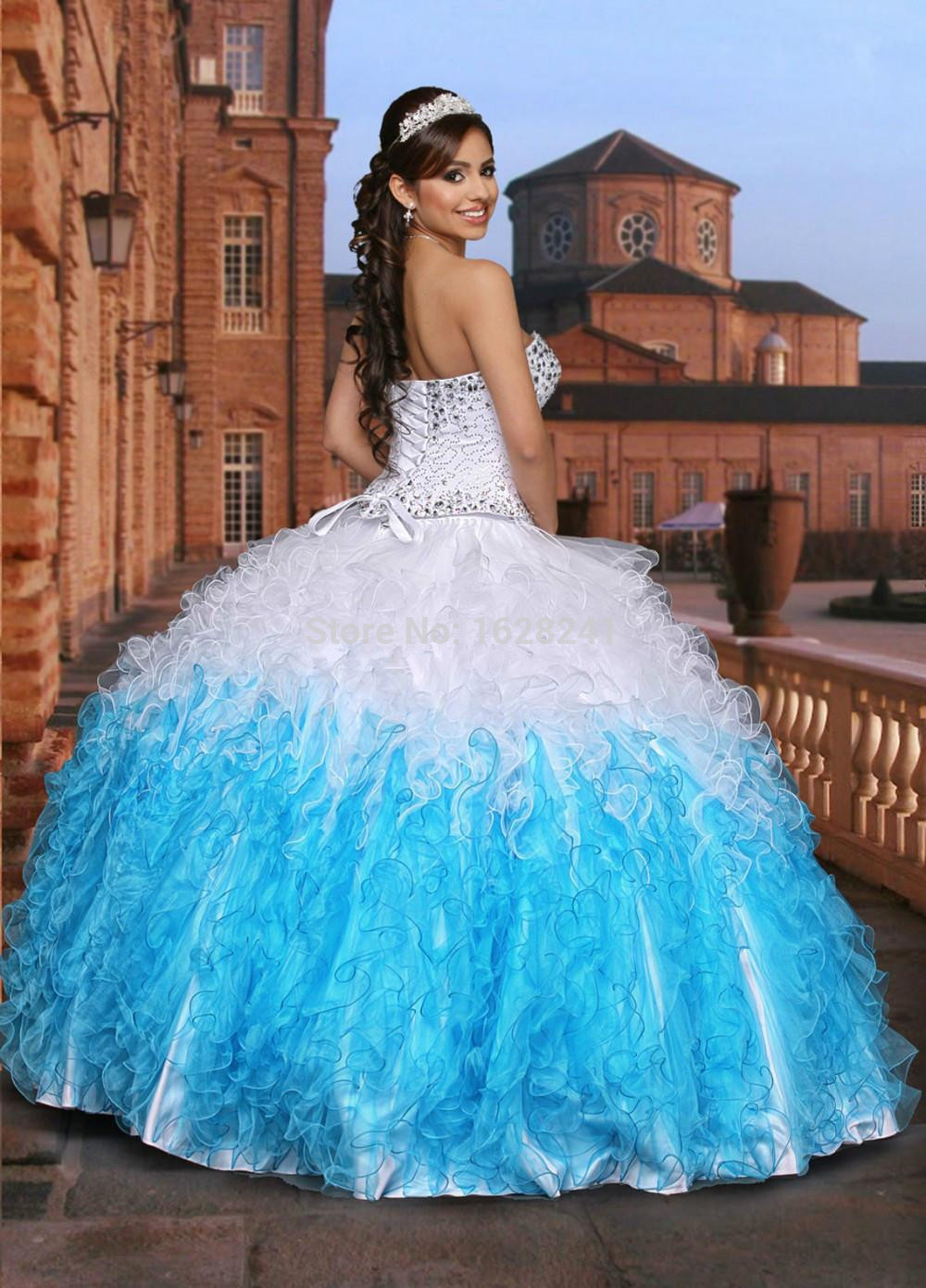 White and blue dresses for quinceaneras fotos