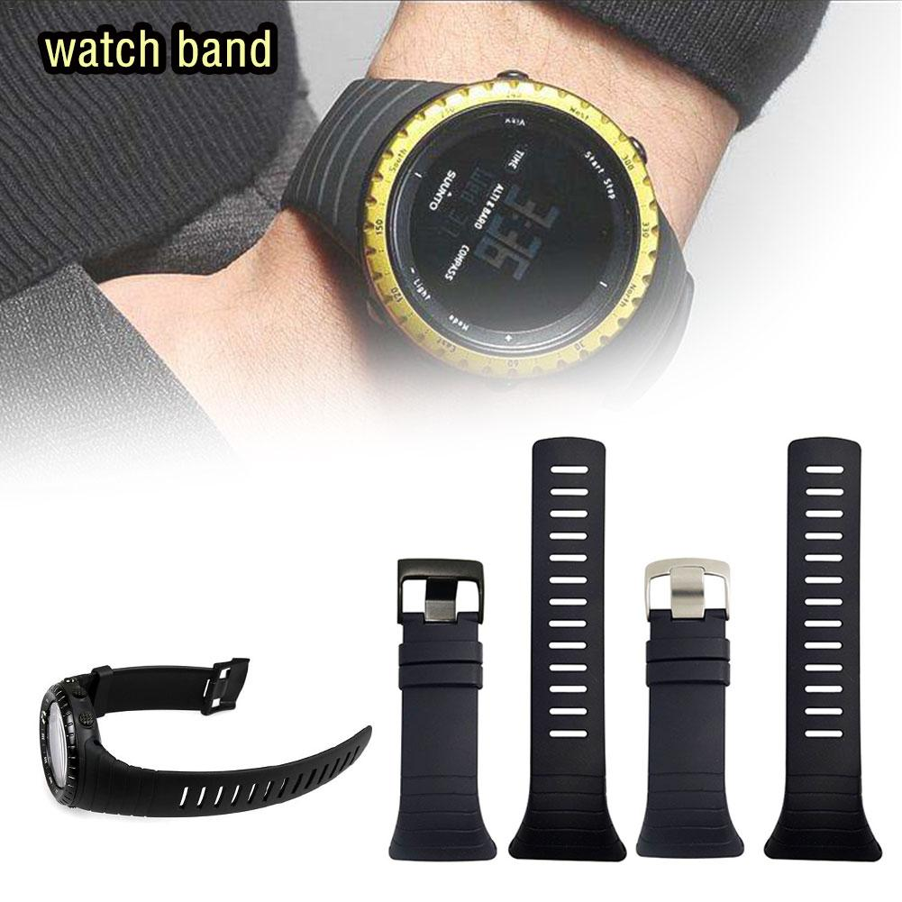 New Watch Accessories Black Rubber Strap Black Waterproof Durable Watch for SUUNTO Core Strap Men's Watch Wrist Strap No Screws no 6730 watch bracelets bands screws removal tool watcch strap screws remover for watchmaker