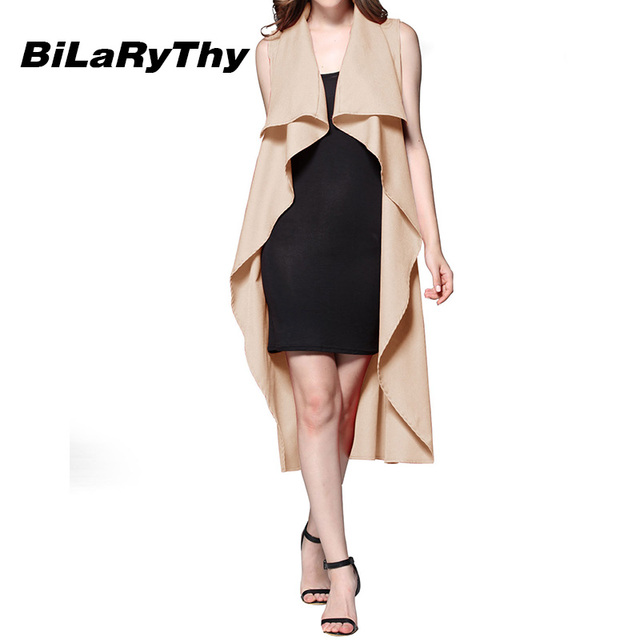 BiLaRyThy Autumn Fashion Women Sleeveless Long Trench Office Ladies Turn Down Collar Solid Casual Outerwear Coats