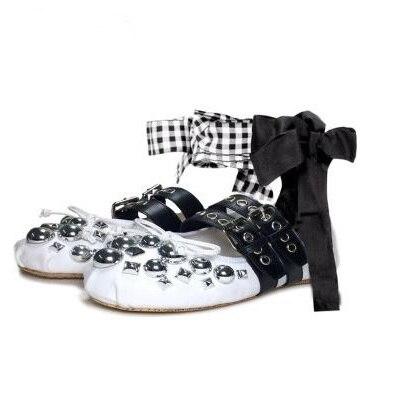 Femmes papillon noeud décorations ballerines noir cuir Rivets clouté chaussures plates bout rond croix attaché décontracté chaussures plates - 2