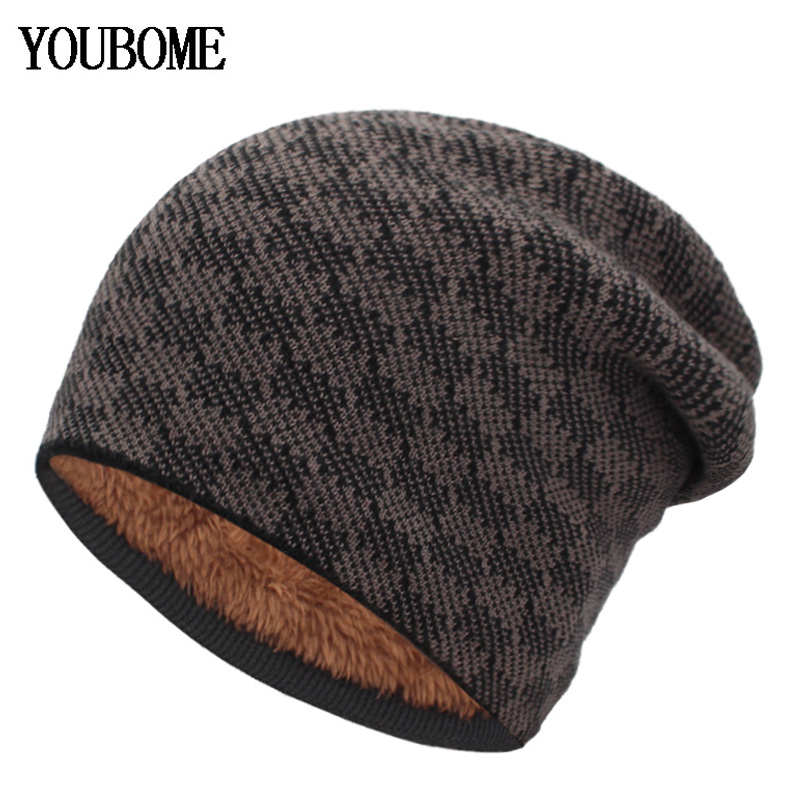 YOUBOME Knitted Hat Women Skullies Beanies Winter Hats For Men Mask Wool Plaid Gorros Bonnet Warm Soft Thick Male Beanie Hat Cap