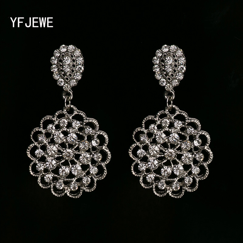 YFJEWE Arrival Fashion Crystal Jewelry Dangle Earrings 2 Colors Gold and  Silver Plated Drop Earrings Women 72d2bd00f44c