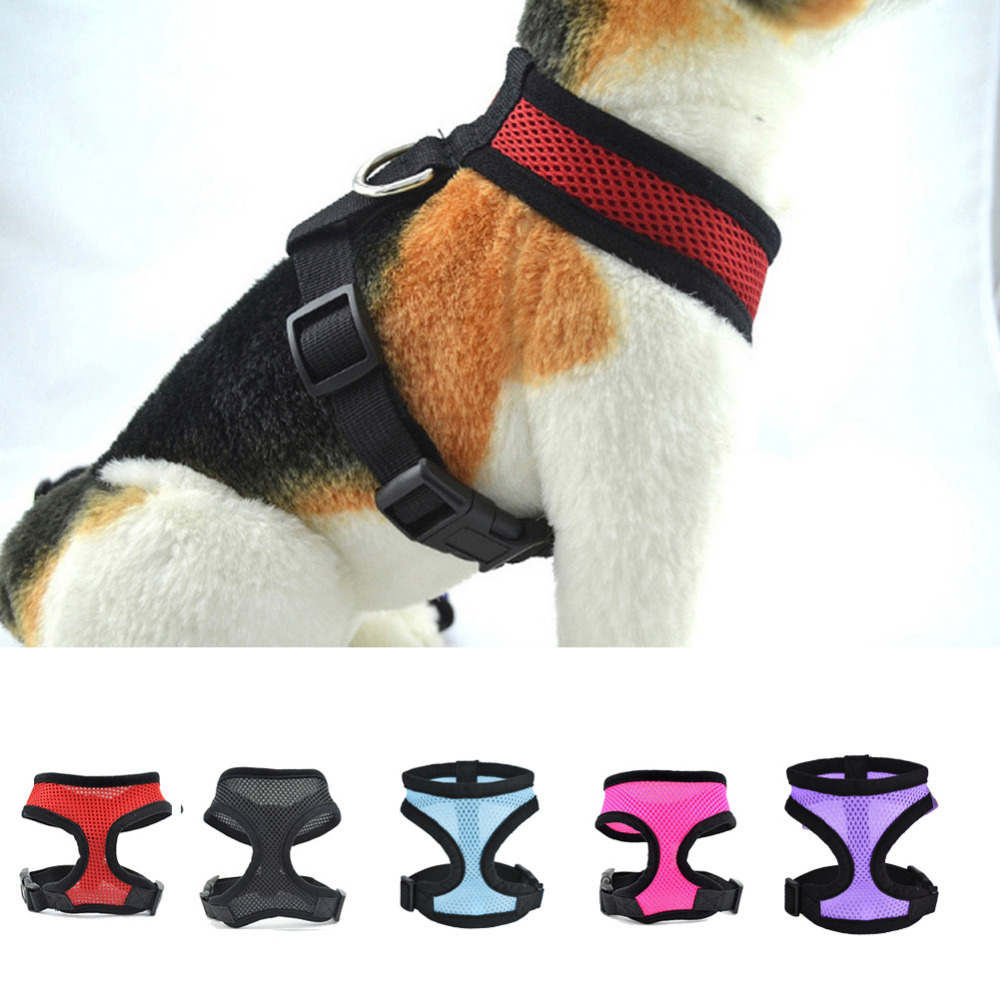 Brandjusterbar, myk pustende hundesele Nylon Mesh Vest Harness for Hunder Puppy Cat Collar Pets Bryst Strap Leash