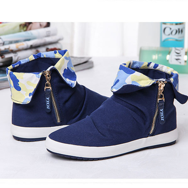 Fashion High Top Women Casual Shoes Ladies Canvas Shoes Female Zipper Basket Solid Trainers Chaussure Femme