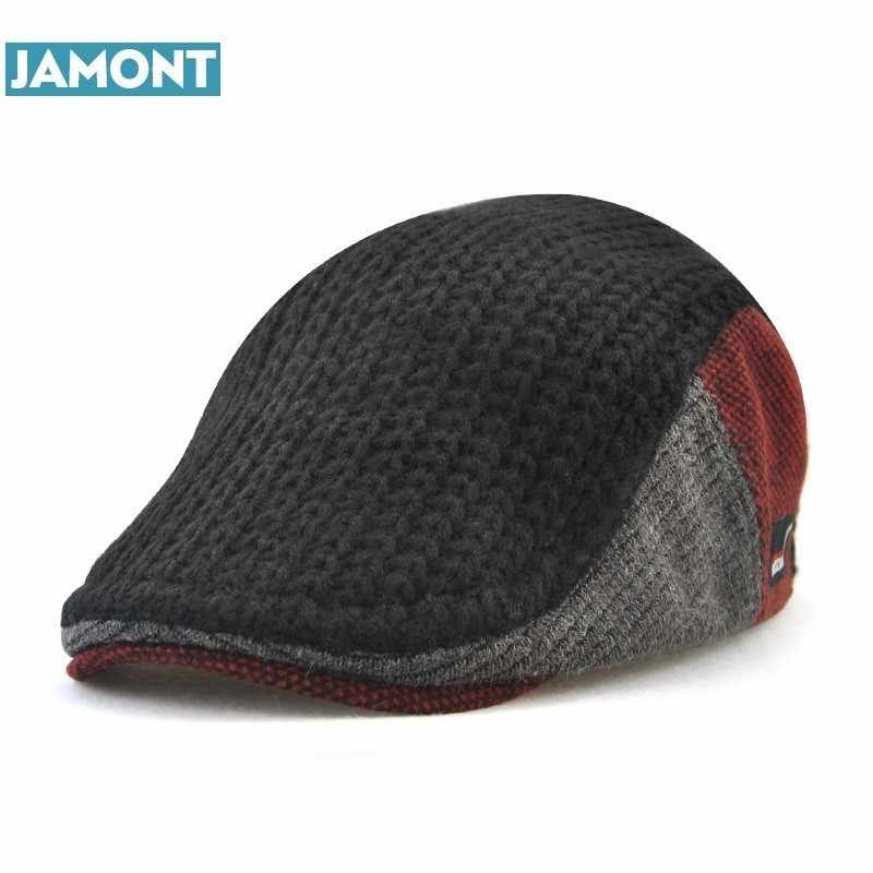 513b1f758d62b JAMONT New Unisex Autumn Winter Beret Buckle Hat For Men Women Solid  Leisure Wool Warmer Knitted