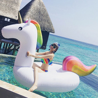 200cm 78inch Giant Unicorn Pool Float Ride On Swimming Inflatable Ring For Adult Children Water Circle Holiday Party Toy Piscina