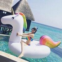 Vender 200cm 78 pulgadas unicornio gigante Piscina flotador de natación anillo inflable para adultos niños agua círculo vacaciones juguete Piscina