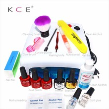 Nail Art Manicure Tools 36W UV Lamp RU Plug + 3 Colors 10ml Soak Gel Refill Nail Gel top coat polish with Remover Practice set