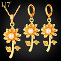 U7 Flower With Simulated Pearl Jewelry Set Yellow Gold Plated Earrings Necklace Set Women Jewelry S780