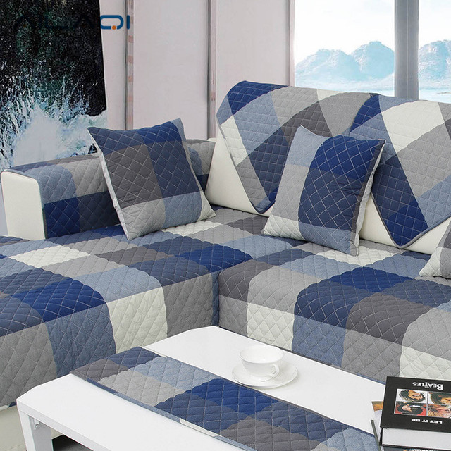 AILAQI Cotton Checkered Six Color Optional Four Seasons Ventilation  Breathable Living Room Non Slip Sofa
