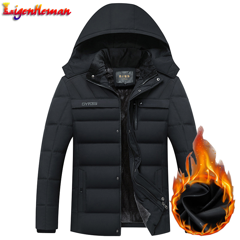 Winter Men Fleece   Parka   Coats Thick Mens Hooded Jacket Coat Warm Thicken Male Overcoat Windproof Outwear Jaqueta Masculina