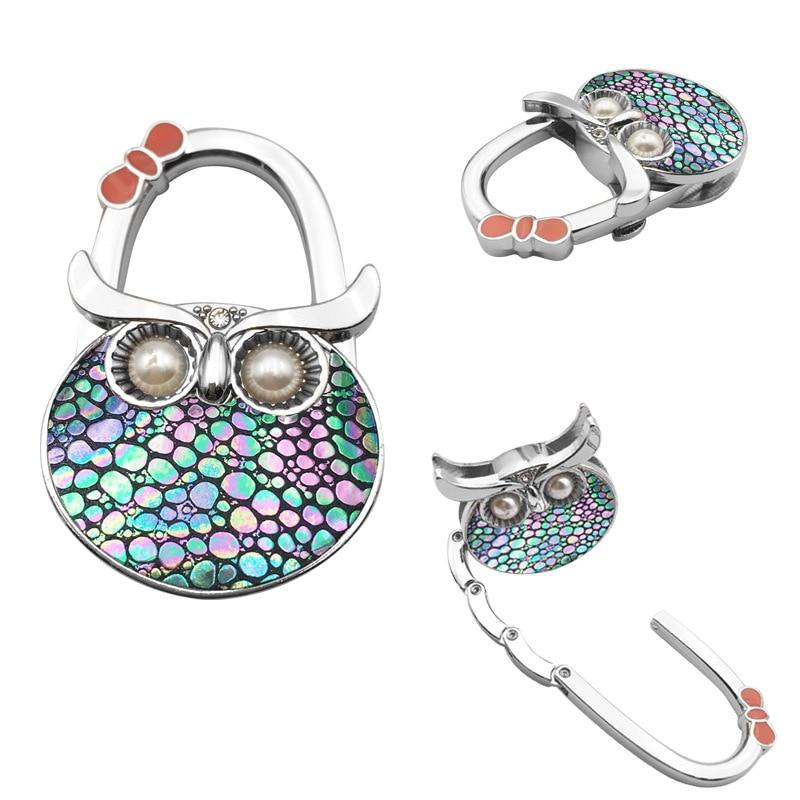 PACGOTH Table Hook Hang Bag Holder Bag Parts & Accessories Dot Owl Pattern Folding Shining Handbag/Purse/Bag Hanger 1 PC