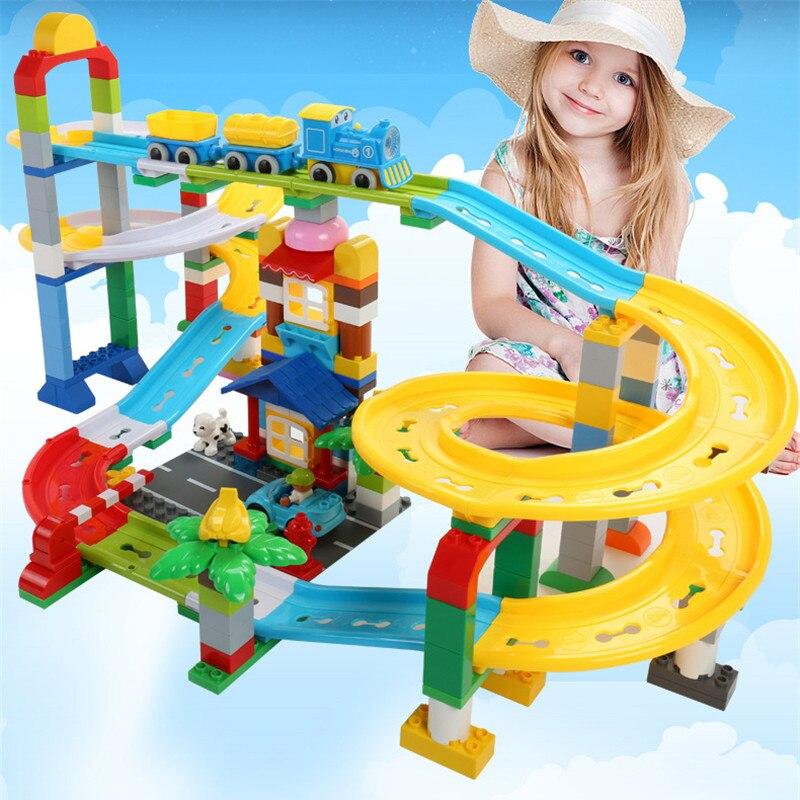 200 pièces piste Duplo blocs de construction ensembles Train montagnes russes briques ville bricolage amis créateur jouets éducatifs pour les enfants
