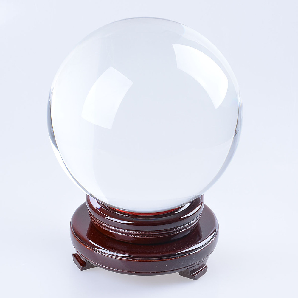 LS 180mm Photography Crystal Ball Ornament FengShui Globe Divination Quartz Magic Glass Ball Table Craft Home Decor part Gifts