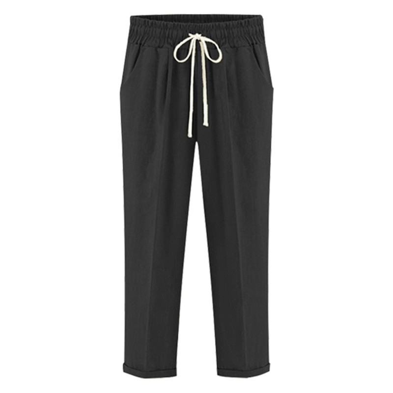 c6dac62594b9 Aikeec Women s Pants 2018 Summer Elastic Drawstring Flip Hem Ankle Length  Pants Plus Size Loose Casual Thin Trousers For Women-in Pants   Capris from  ...