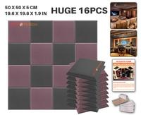 Arrowzoom 16pcs Bundle Black and Brown 50 x 50 x 5cm (19.6 x 19.6 x 1.9in) Flat Bevel Tile Panel Studio Acoustic Foam KK1039