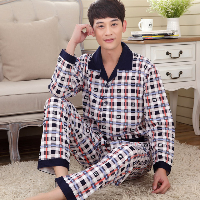 Men 's knitted cotton pajamas spring and autumn men' s autumn cardigan long-sleeved men 's autumn home suit 099
