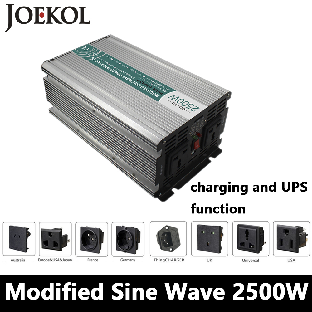 2500W Modified Sine Wave Inverter,DC 12V/24V/48V To AC110V/220V,off Grid Solar Power Inverter With Battery Charger And UPS full power 2000w modified sine wave inverter dc 12v 24v 48v to ac110v 220v off grid solar inverter with battery charger and ups