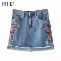 FATIKA 2017 Autumn New Fashion Women Ripped Floral Embroidery Mini Denim Skirt Ladies A Line Front