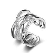 MEEKCAT корейский стиль 925 пробы серебряные кольца для открытия многослойная линия крест мозаичный Циркон Кольца для женщин ювелирные изделия S-R243
