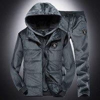 Брендовые зимние мужские костюмы, теплая Толстовка для мужчин + жилет для мужчин, приталенное пальто + длинные штаны, Повседневная модная ку