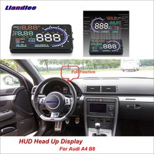 Liandlee Full Function Car HUD Head Up Display For Audi A4 B8 2014-2018 Safe Driving Screen OBD Speedometer Projector Windshield liandlee car hud head up display for lexus gx470 rx300 rx330 lx nx ux safe driving screen obd speedometer projector windshield