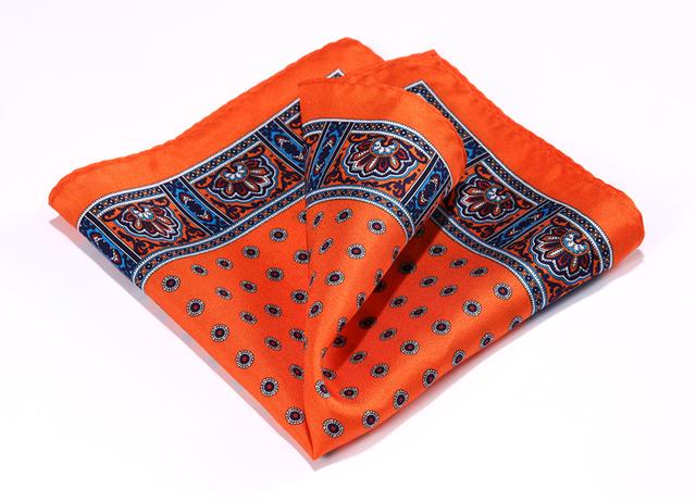 Hn36n naranja azul HISDERN pañuelo 100% de satén de seda Natural para hombre del pañuelo de moda banquete de boda Classic Pocket Square