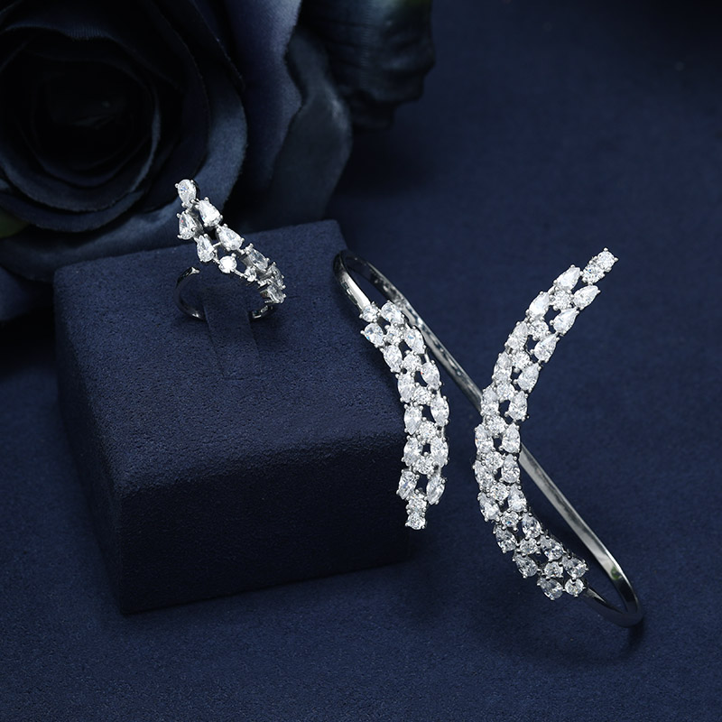 janekelly fashion AAA Cubic Zircon Adjustable hand Cuff bracelet X Shape Women Jewelry For Anniversary stylish letter irregular shape cuff bracelet for women