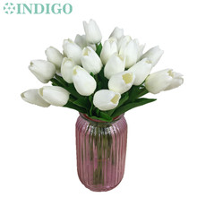20 pcs Mini White Tulip High Quality Holland Home Flower PU Real Touch Artificial Flower Wedding Flower Party Free Shipping