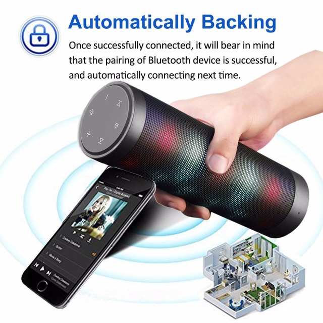 Portable Bluetooth speakers Car Player Bedroom LED Lights FM HIFI ...