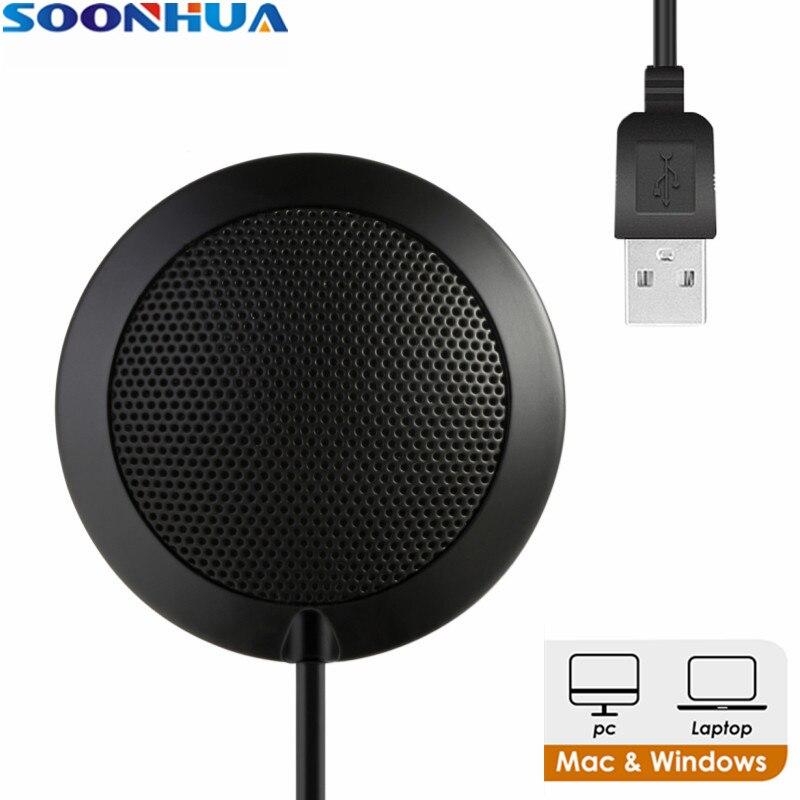 SOONHUA 3,5mm enchufe USB y 1,7 m de largo Cable reunión Studio Micrófono superior omnidireccional para de Audio de Skype hablando